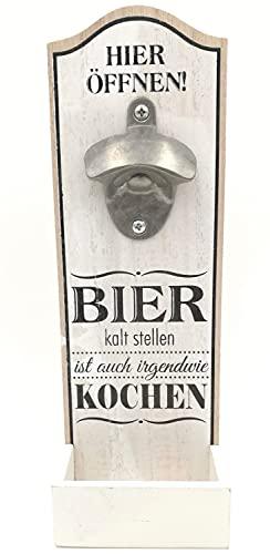 G.H. Robuuste grote muur flessenopener in vintage stijl voor wandmontage van hout, met metalen flesopener, afmetingen 30…