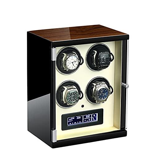 ZCXBHD Caja de Relojes Automaticos 5 Modos de Rotación Pantalla LCD Táctil Digital Iluminación LED AzulCrema con Mando A Distancia Mecánicos Caja Bobinadora (Color : Beige, Size : 4 epitope)