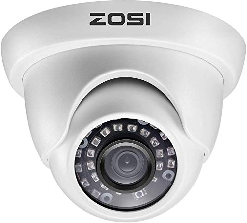 ZOSI 2.0MP 1080P 1920TVL Hybrid 4-in-1 TVI CVI AHD CVBS Security Surveillance CCTV Dome Camera, Weatherproof 80ft IR Day Night Vision For 960H,720P,1080P,5MP,4K analog Surveillance DVR (White)
