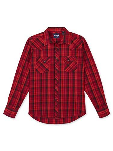 Wrangler mens Western Fashion Two Pocket Long Sleeve Snap Shirt, Red, X-Large US