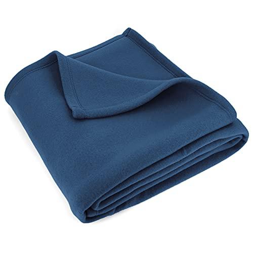 Linnea Couverture Polaire 220x240 cm Isba Marine 100% Polyester 320 g/m2 traité Non-feu