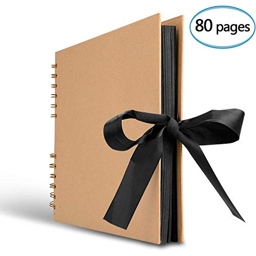 Innocheer Scrapbook, 80 Black Pages Photo Album, 11.6 x 8.3 inch Great for Craft Paper DIY...