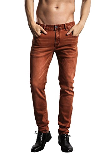 ZLZ Slim Fit Jeans, Men's Younger-Looking Fashionable Colorful Comfy Stretch Skinny Fit Denim Jeans, Size 32(Rust)
