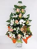 dolarestore Ramo para Cementerio, Flores Artificiales de Tela para Todos los Santos Medida 60cm. Capullos Naranjas(81002)