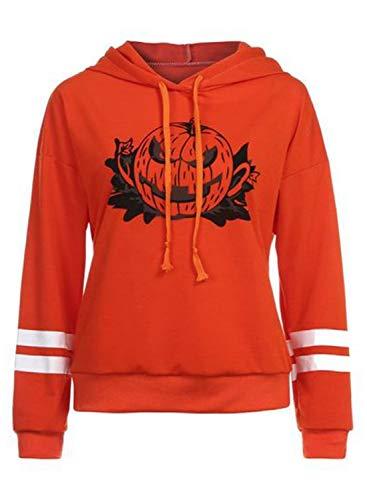Sudadera con capucha para mujer, diseo de calabaza sonriente, ideal para invierno, color naranja