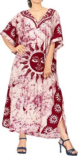 LA LEELA Mujeres Caftán Algodón túnica Batik Kimono Libre tamaño Largo Maxi Vestido de Fiesta para Loungewear Vacaciones Ropa de Dormir Playa Todos los días Cubrir Vestidos Granate_Y602