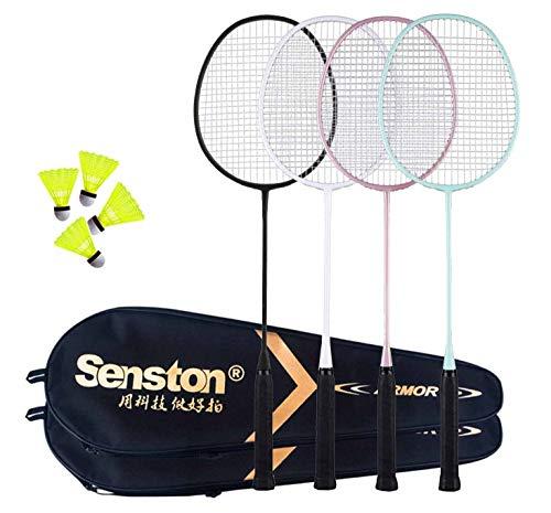 Senston Badminton Set Family mit Netz für Garten, 4er Set Badminton Schläger Leichtgewicht Badmintonschläger mit Einfach Net Set