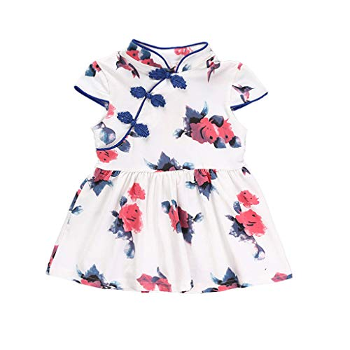 JERFER Prinzessinenkleid Kleinkind Kleinkind Baby Mädchen Karikatur Blumen Ärmellos Gurt Kleid Outfits 12M-5Y