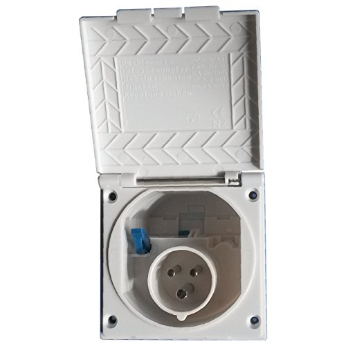 CEE Steckdose für Wohnmobil Caravan bzw. Wohnwagen * Farbe: Signalweiß * Einbaustecker Einbausteckdose Stromanschluss Einspeisungsstecker Einspeisungssteckdose Anschlussdose