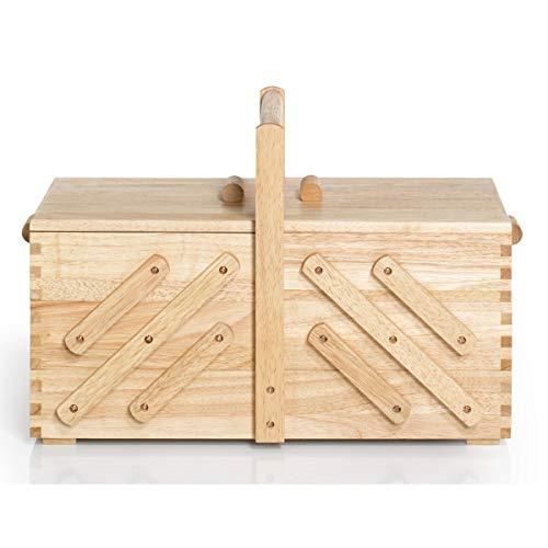 Prym 612548 Nähkasten aus hellem Holz, L Nähkorb, beige, braun, L