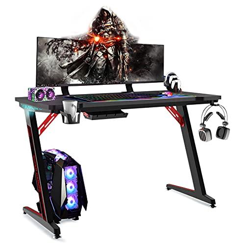 Soontrans Scrivania Gaming LED Grande Scrivania Computer con RGB Illuminazione, Portabicchieri e Gancio per Cuffie, Tavolo per Gaming 120 x 60 cm