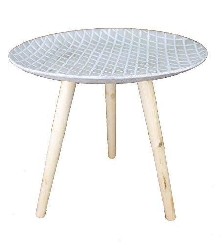 GMMH Design Retro Beistelltische 40 cm Holz Weiß Kaffeetisch Couchtisch Nachttisch (Design13-5Platte grau)