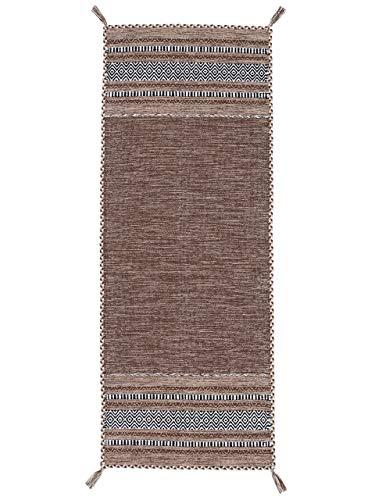 CarpetFine Tappeto a Tessitura Kilim Azizi passatoia Marrone 75x200 cm | Tappeto Moderno per Soggiorno e Camera da Letto
