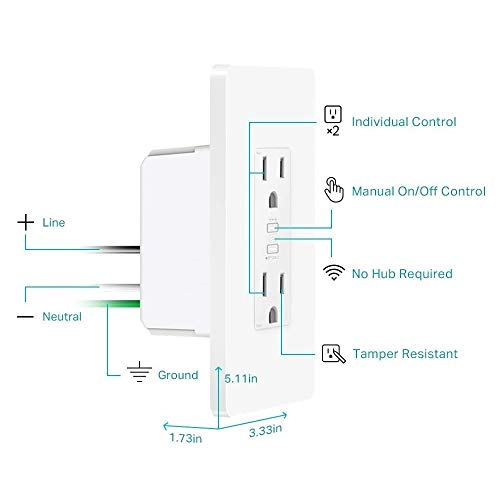 Kasa Smart Plug KP200, In-Wall Smart Home Wi-Fi Outlet Works with Alexa, Google Home & IFTTT, No Hub Required, Remote Control, ETL Certified