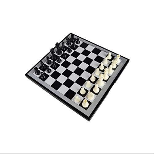 FEANG Juego de Ajedrez Conjunto de ajedrez Internacional de plástico con Juego de ajedrez magnético de Viaje portátil para Aprender Juego de Familia Ajedrez y Damas (tamaño : 35.9x34.9)