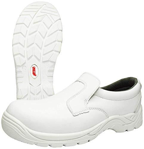 Zapatillas de Trabajo Nitras 7250 Clean Step I - Zapatilla de Seguridad S2 para Hombres y Mujeres - Zapatos Resistentes al Agua con Punta de Acero - Blanco, Tamaño 42