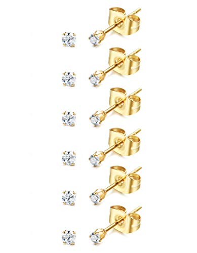 ORAZIO 6-20 Pairs Tiny 2mm Stainless Steel Stud Earrings For Mens Womens CZ Round Ball Earrings Set (I: 6 Pairs,Gold)