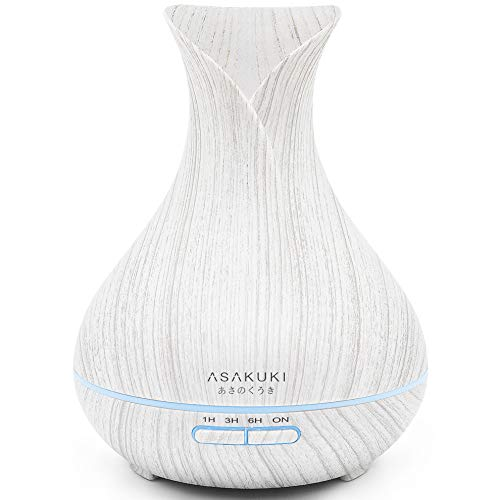 ASAKUKI 400ML Premium, Essential Oil Diffuser, Quiet 5-in-1 Humidifier, Natural Home Fragrance Diffuser with 7 LED Color Changing Light and Easy to Clean