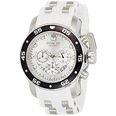 Invicta Men's Pro Diver 48mm Stainless Steel and White Silicone Chronograph Quartz Watch, White (Model: 20290)