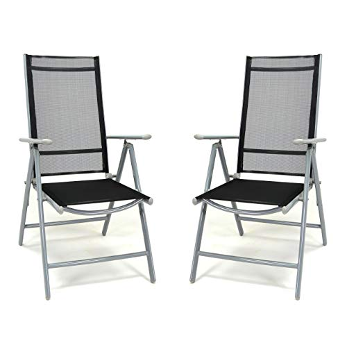 Nexos SC00060_SL2_JM 2er Set Klappstuhl schwarz Aluminium 7-Fach-verstellbar Gartenstuhl mit Armlehne witterungsbeständig stabil leicht Hochlehner Rahmen Silber Terrasse Balkon
