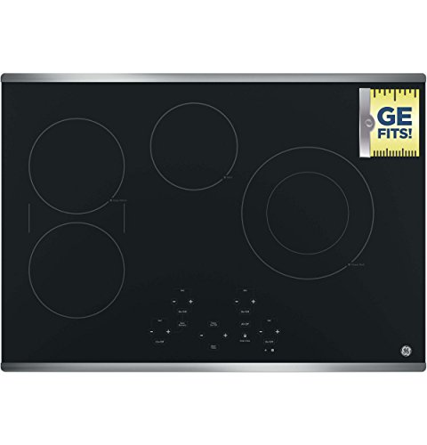 GE JP5030SJSS 30 Inch Smoothtop Electric Cooktop with SyncBurner, Keep Warm, Digital Touch Controls, 4 Radiant Elements, Built-in Timer, Melt Setting, ADA Compliant Fits Guarantee 3 JP5030SJSS