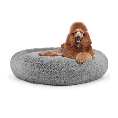 The Dog's Bed Sound Sleep Donut Dog Bed, XL Silver Grey Plush Removable Cover Premium Calming Nest Bed