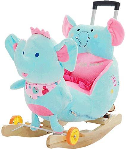 Sofa Children's Rocking Horse Elephant Children's Houten Paard Muziek Rocking Chair baby speelgoed Met Push Rod, kan worden getrokken en duwde Lostgaming