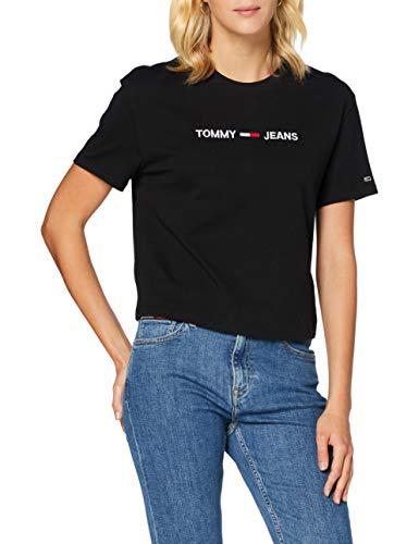 Tommy Jeans Tjw Modern Linear Logo tee Camiseta de Manga Corta, Negro (Black), M para Mujer