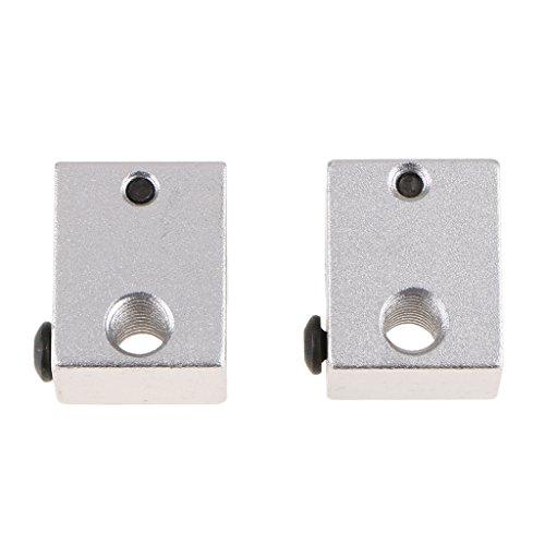 2 Pieces of V6 Aluminum Heater Block Metal Oxide Sand Blasting Heats Aluminum Blocks for 3D Printer Silver