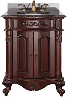 Avanity Provence 24 in. Vanity with Imperial Brown Granite Top and Sink in Antique Cherry finish