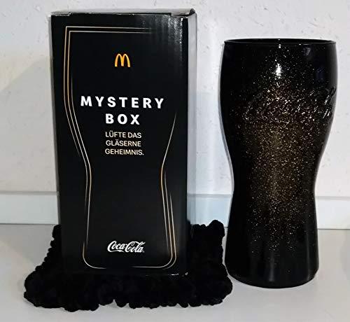/ Mystery Box / Schwarz - Gold Glitzer + selbstgestrickten Untersetzer / Box 1. / Mc Donald's / 2020 / NEU / Sammelglas / Colaglas / Coca-Cola / / Glas / Gläser / Geschenk / Weihnachten
