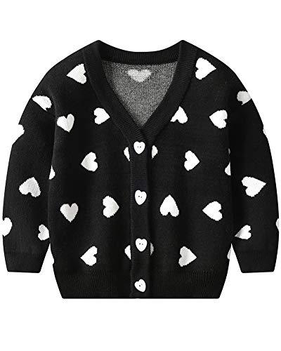 Niños Niñas Chaqueta De Punto Jersey Manga Larga Suéter Pullover Cardigan Negro 110 Adecuado para la Altura: 110CM