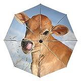 Ombrello da viaggio piccolo Antivento da esterno per pioggia Sun UV Auto compatto Ombrelli da 3 pieghe Cover - Animale giovane mucca