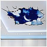 3D Cielo Luna Nubes Etiqueta...