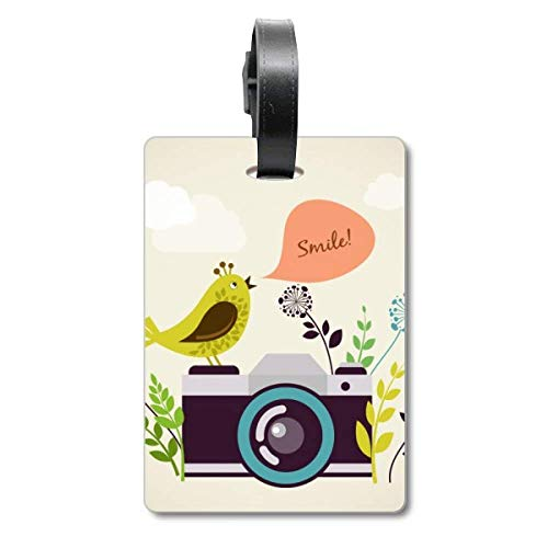 Illustratie Vogelgroet op Camera Cruise koffer Tas Tag Tourister Identificatie Label