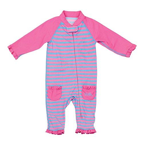 UV Skinz UPF 50+ Baby Girls Sun & Swim Suit- Bubblegum Stripes - 12/18m