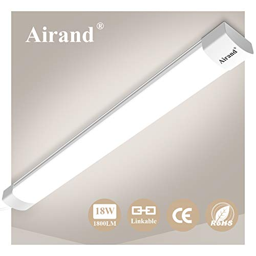 Airand Linkable LED Batten Light Tube Light 2FT 18W 1800LM Ceiling Light for Garage Office Cellar Shop Basement School Bathroom Restaurant Hotel Hostipatal,Ideal Indoor or Outdoor,60CM Natural White