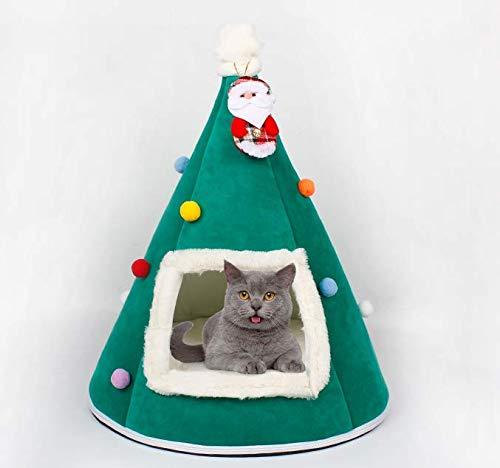 FuYouTa Árbol de Navidad Cat House Cama de Gatos Casa de Gatos Muebles para Gatos Idea Cute Cat Cave Bed, Soft Cat Teepee House Christmas Warm Cat Bed para el Invierno