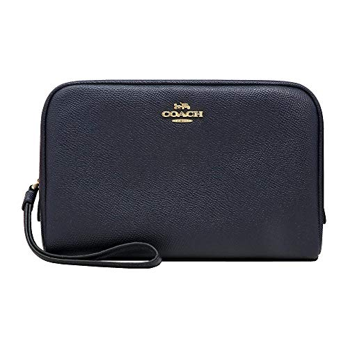 Coach Women's Boxy Cosmetic Makeup Holder Bag Case in Crossgrain Leather (Midnight)