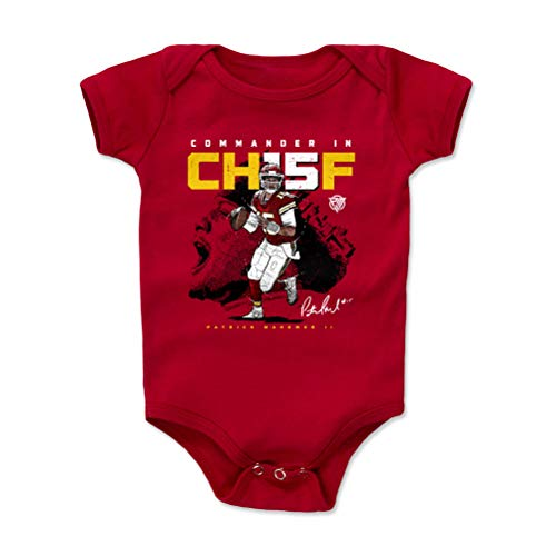 1UP Sports Marketing Patrick Mahomes Baby Clothes, Onesie, Creeper, Bodysuit (Onesie, 12-18 Months, Red) - Patrick Mahomes Commander in CH15F WHT