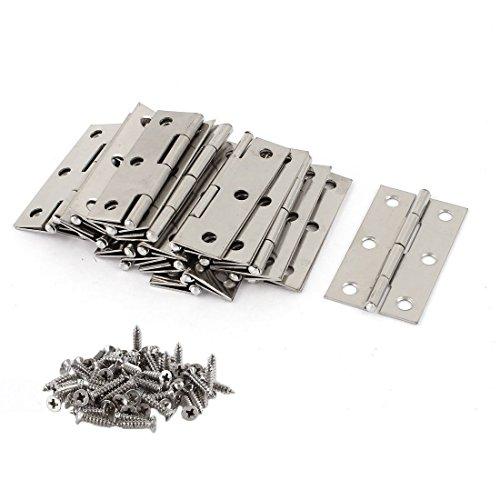 HAIYASI 20 PCS Folding Butt Hinges Silver Tone Home Furniture Hardware Door Hinge with 120 PCS Stainless Steel Screws