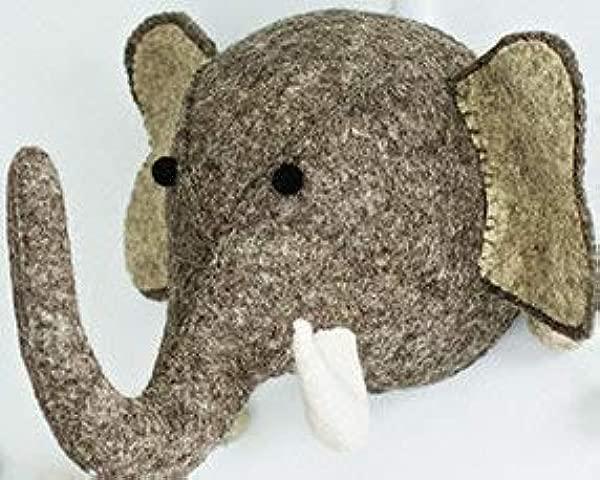Linen Perch Elephant Felt Wall D Cor For Baby Nursery Trendy Animal Head Decoration For Boy Or Girl Bedroom Or Child Playroom Handmade Felt Wool 7 X 5 X 16
