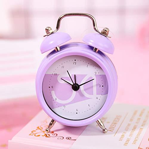 GYHJG Mini Reloj Despertador De Doble Campana Clásico De 2 Pulgadas con Pilas, Alarma Mecánica con Dial Estéreo, Unidad De Cuarzo, Sin Tictac Y Ruido