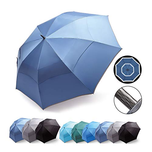 HOSA 54 68 Inch Automatic Open Large Golf Umbrella, Oversize Double Canopy Vented, Heavy Duty, Durable Extra Large Stick Umbrella, Windproof Waterproof UV Protection, Portable Folding for Men Women