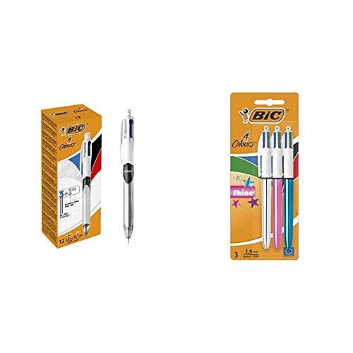 BIC 4 3+1HB Bolígrafo y Portaminas – Caja de 12 unidades + 4 Shine Bolígrafo Retráctil punta media (1,0 mm) – Metálicos Surtidos,...