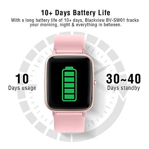Blackview Smartwatch, Reloj Inteligente con Pulsómetro Mujer Hombre Niños, Monitor de Sueño, 45 Días Batería Ultra Larga Duracion, Reloj de Fitness para iOS y Android Xiaomi Huawei Samsung iPhone miniatura