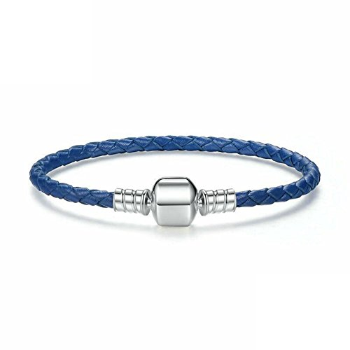 Genuine Leather Woven Bracelet with 925 Sterling Silver Snap Clasp Charms for Xmas,Anniversary Gifts 20cm ( 7.9inch)