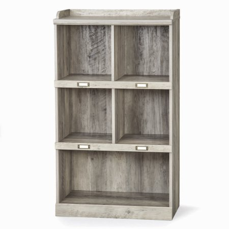 Better Homes and Gardens Modern Farmhouse Versatile 5-Cube Storage Organizer with Name Plates, Rustic Gray Finish