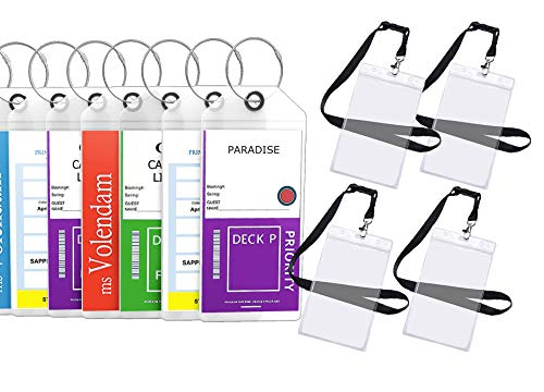 Cruise Luggage Tags Etag Holders Zip Seal & Steel Loops Thick PVC - (8 Pack + 4 ID Holders)