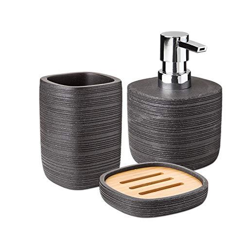 PracticDomus - Conjunto de Baño con Dosificador, Vaso, Jabonera y Escobilla WC en Poliresina con Madera de Bambú. Colección Bambú (Conjunto 3 Piezas)